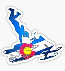 Neon Colorado flag snowmobiler trickster Sticker