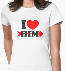 LOVE HIM, Couple, Heart, I Love You, Pair, Valentine` Day Womens Fitted T-Shirt