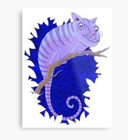 Cheshire Cat Chameleon Metal Print