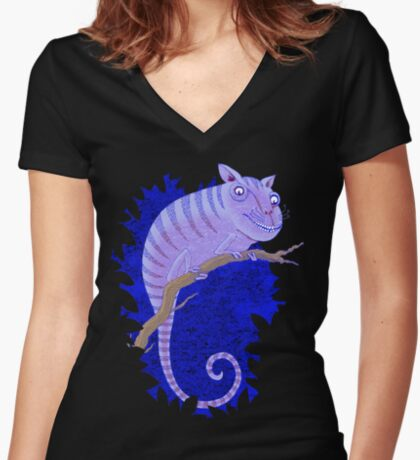 Cheshire Cat Chameleon Women's Fitted V-Neck T-Shirt
