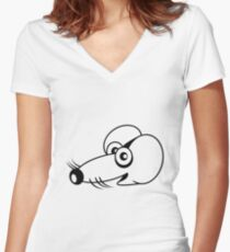 cute love mouse Women's Fitted V-Neck T-Shirt