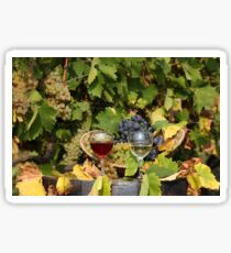 vineyard with red and white wine  Sticker