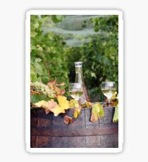 vineyard with white wine and old wooden barrel Sticker