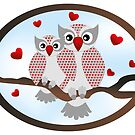 Cartoon owls -  You and me design by schtroumpf2510