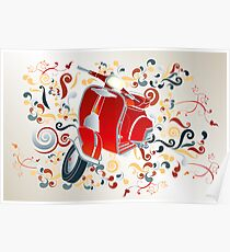 Retro illustration with red scooter, colorful swirls and floral elements Poster