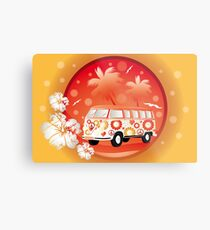 Retro bus with floral patterns  Metal Print