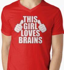 THIS GIRL LOVES BRAINS SHIRT Men's V-Neck T-Shirt
