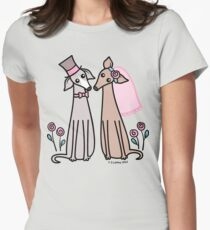 Greyhound Wedding Couple - pink Womens Fitted T-Shirt