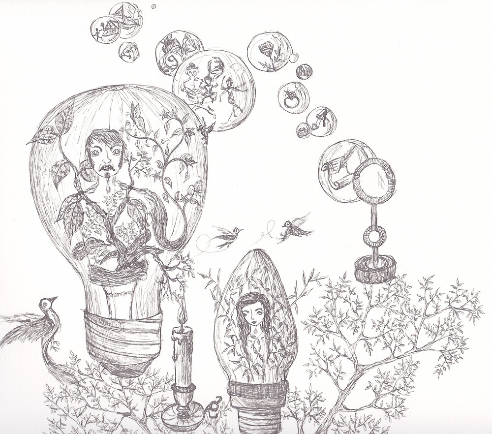 People in Lightbulbs (ink) by mugs-munny