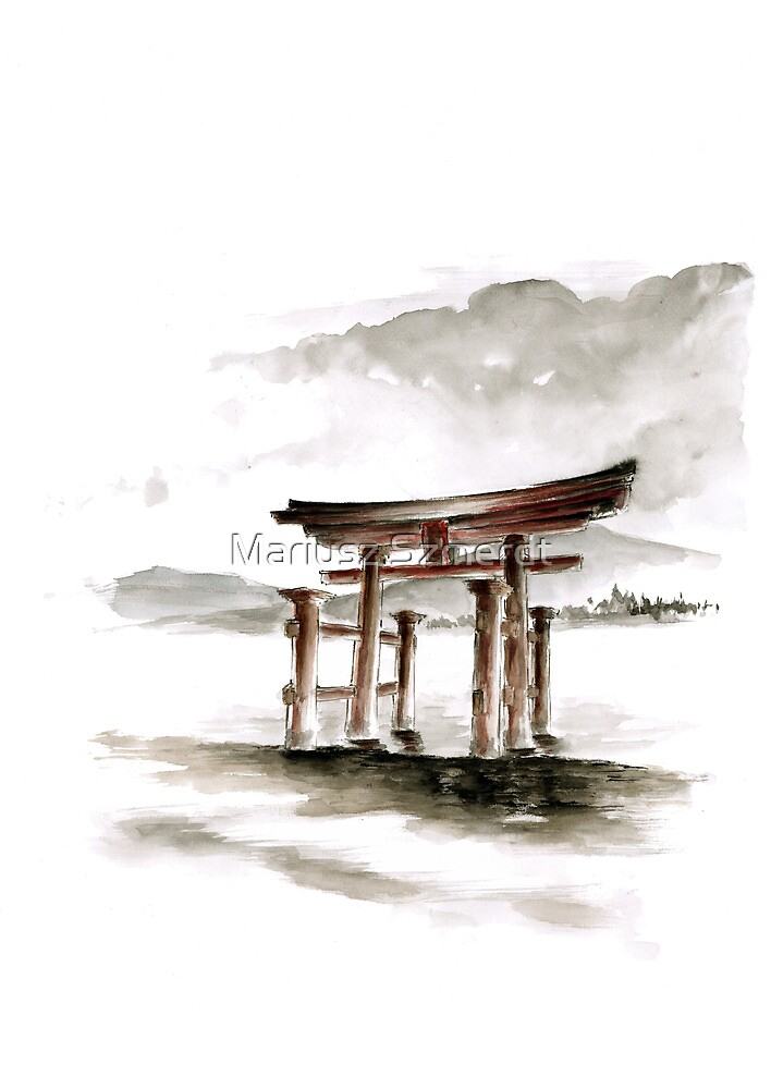 Cool mens gift Anniversary gift Torii Gate japanese art sumi-e asian decor wedding gift birthday gift japanese temple bridesmaid gift  by Mariusz Szmerdt