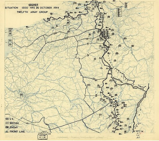 October 24 1944 World War II HQ Twelfth Army Group situation map by allhistory