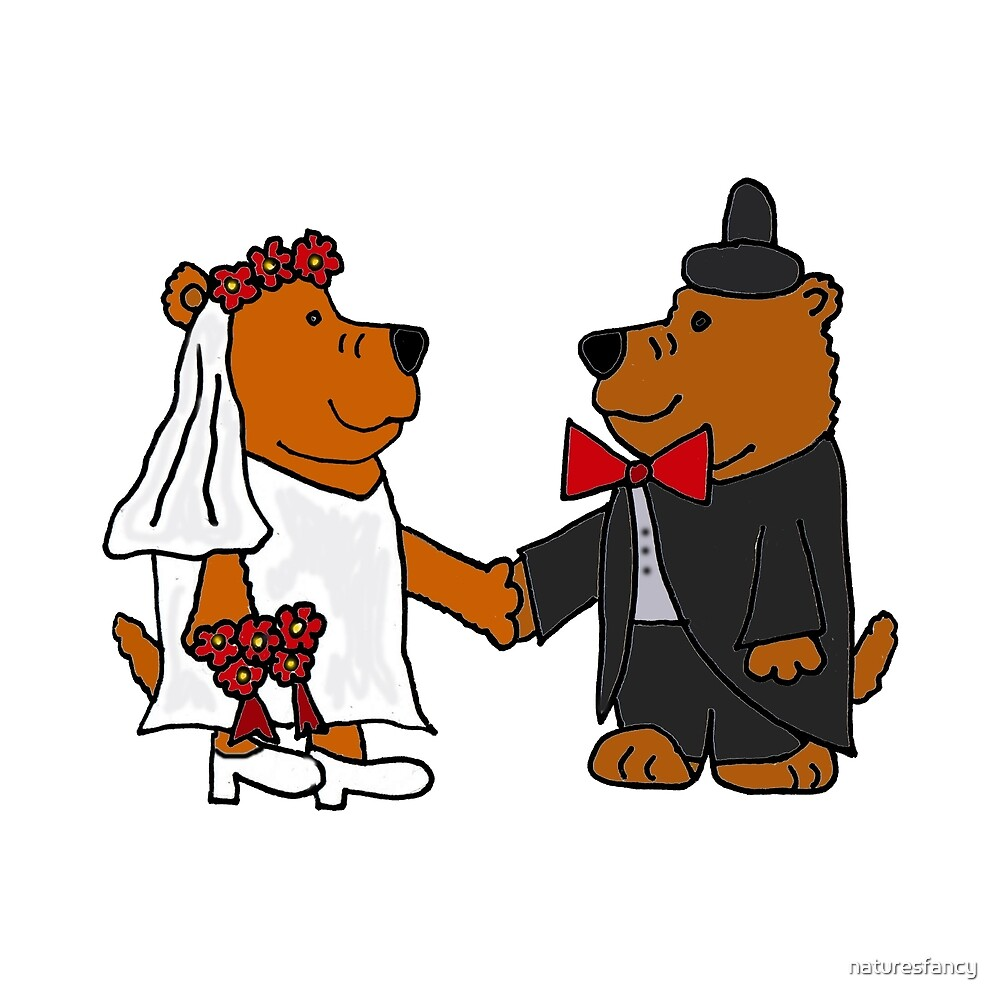 Funny Cool Bride and Groom Brown Bear Art by naturesfancy