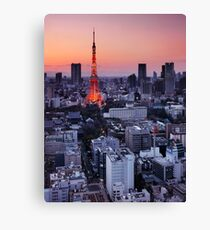Tokyo tower during sunset art photo print Canvas Print