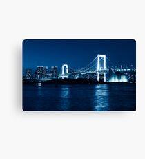 Tokyo Rainbow bridge at night toned in blue art photo print Canvas Print