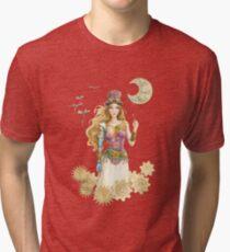 'The Key' Steam punk girl by Scot Howden Tri-blend T-Shirt