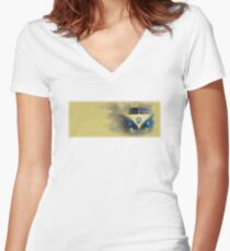 A Camper Van of Cloudy Stuff Emerges Women's Fitted V-Neck T-Shirt