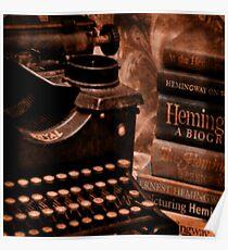 Hemingway Vintage Typewriter and Books Poster