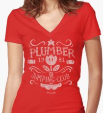 Plumber Jumping Club Women's Fitted V-Neck T-Shirt