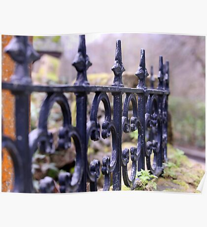 Wrought Iron Fence Surrounds Church Poster