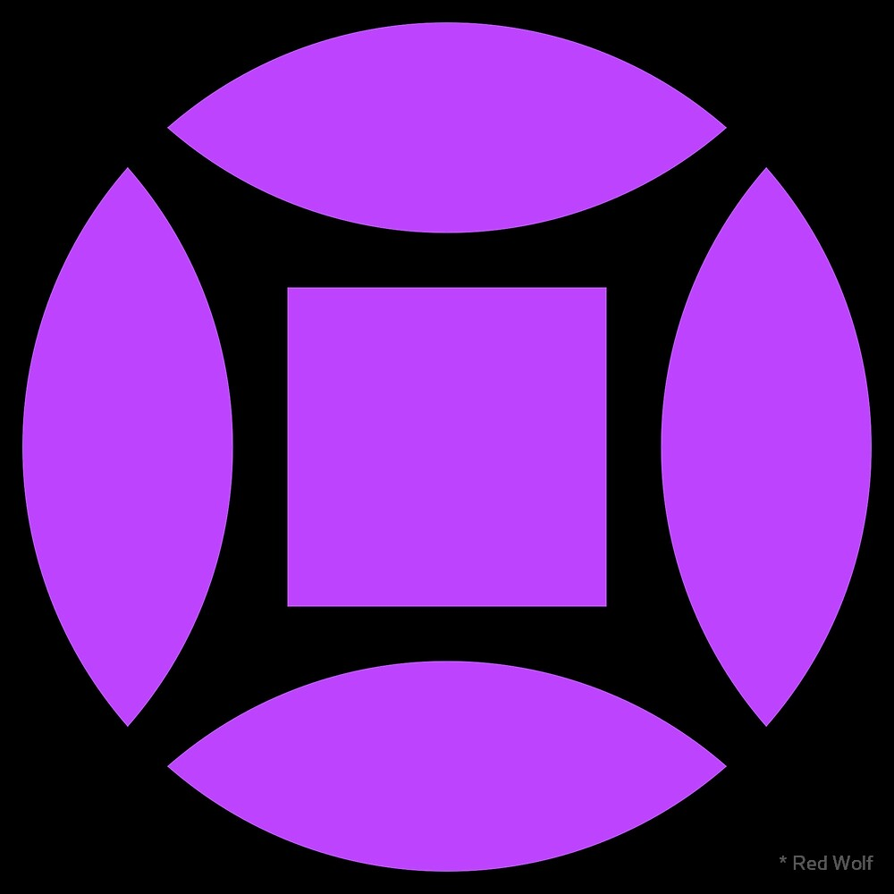 Geometric Pattern: Intersect Square: Black/Purple by * Red Wolf