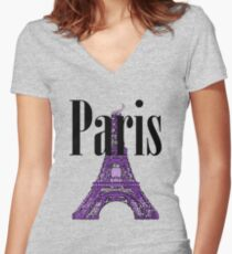 Paris, France - Eiffel Tower Women's Fitted V-Neck T-Shirt