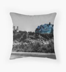 Blue Mansion By The Sea Throw Pillow