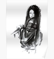 Geisha Geishacreations geisha kimono japan art print women wedding gift modern art abstract art sumi-e geisha girl geisha costume asian women Poster