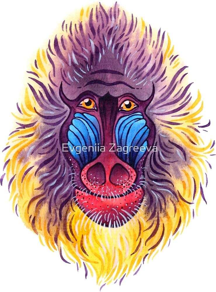 Watercolor mandrill by Evgeniia Zagreeva