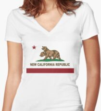 New California Republic Flag Original Womens Fitted V Neck T Shirt