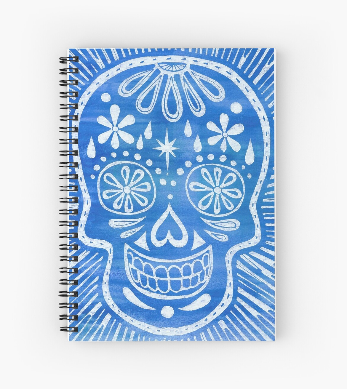 Blue Sugar Skull Blockprint by natalievmason