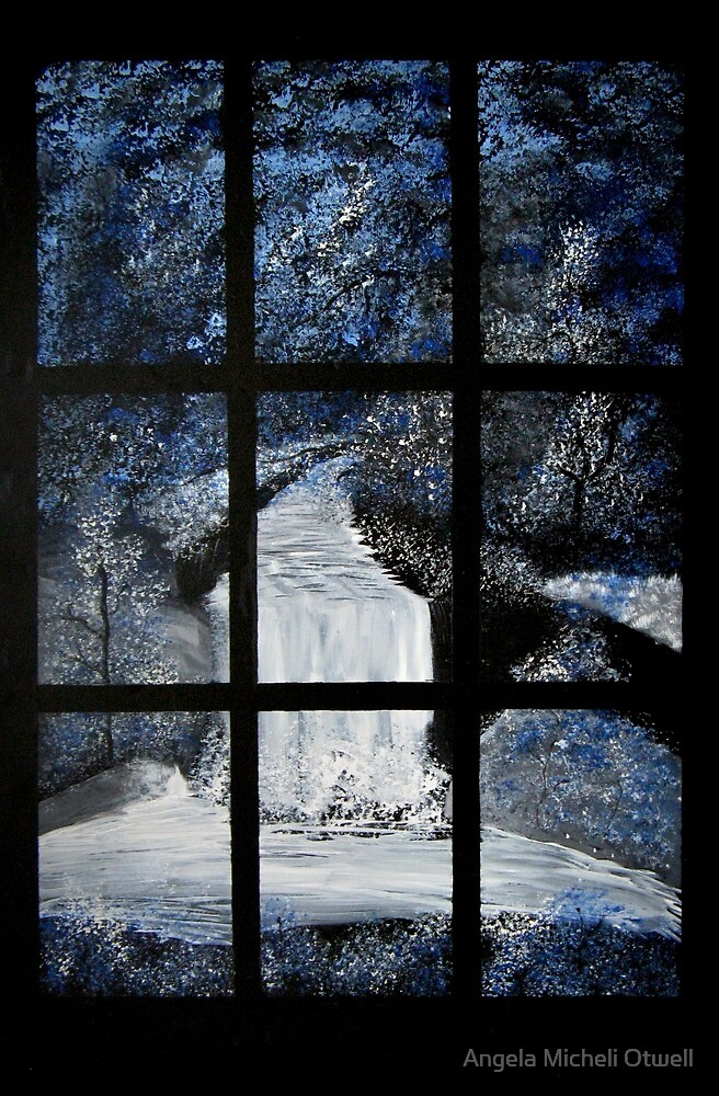 Painting of a Waterfall through a Window by Angela Micheli Otwell