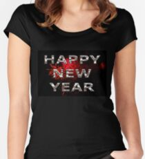Happy New Year With Fireworks Women's Fitted Scoop T-Shirt