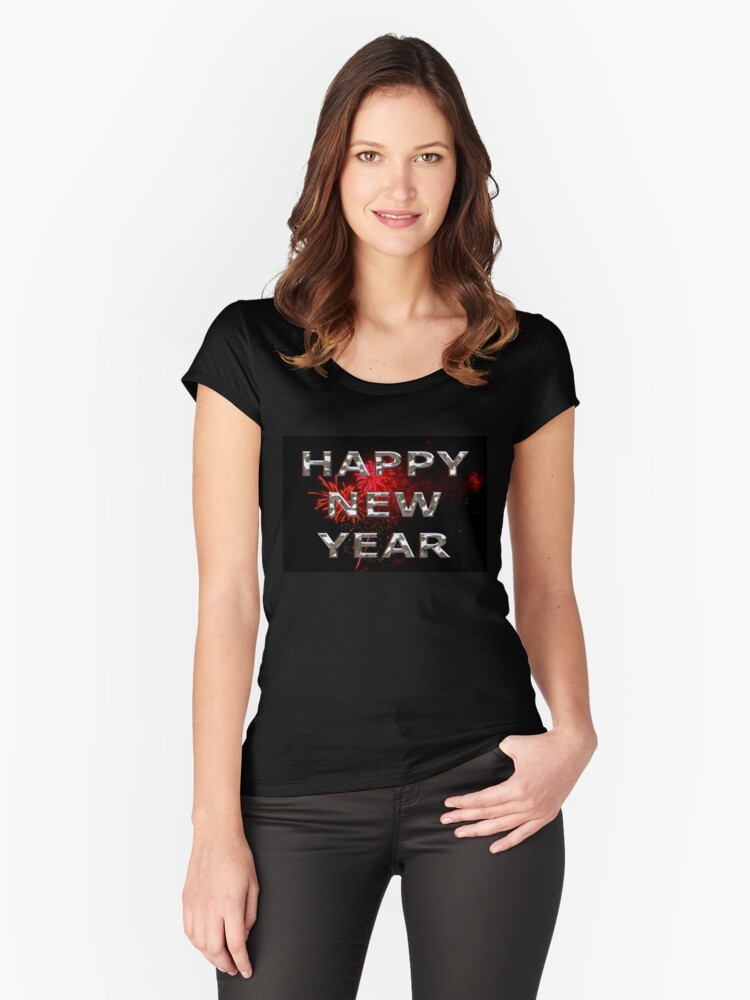 Happy New Year With Fireworks Women's Fitted Scoop T-Shirt Front