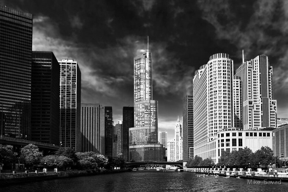 City - Chicago IL - Trump Tower BW by Michael Savad