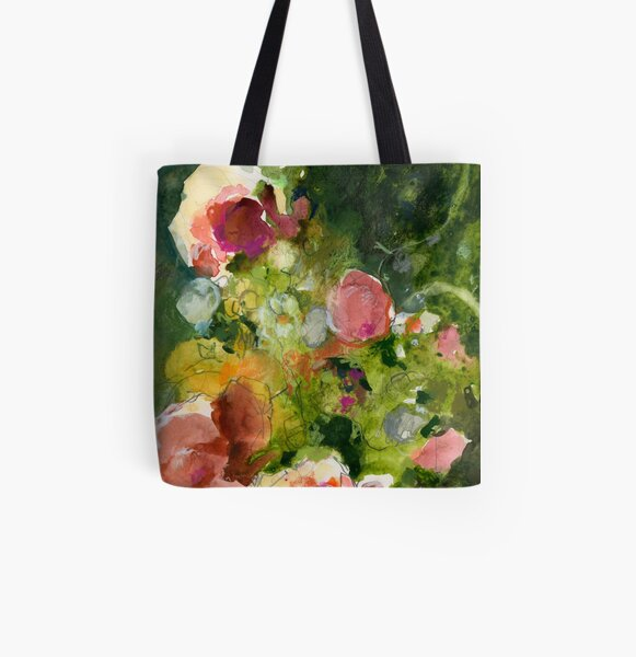 Pink & Sienna Flowers All Over Print Tote Bag
