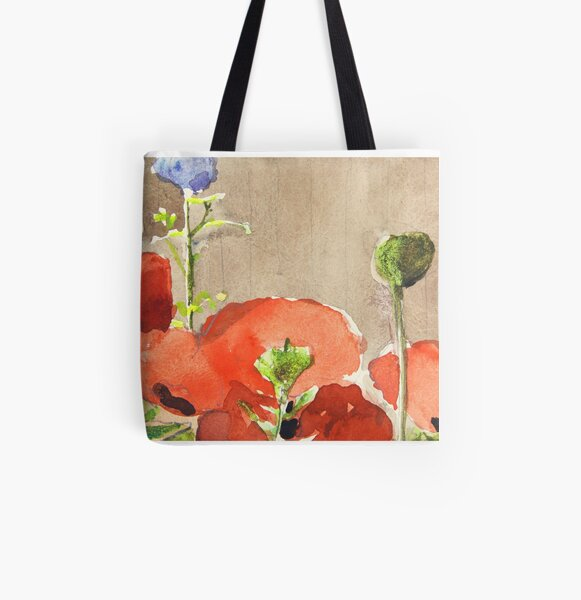 Poppies Close-Up All Over Print Tote Bag