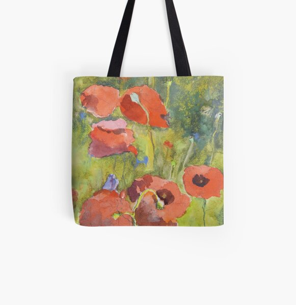 Poppies All Over Print Tote Bag