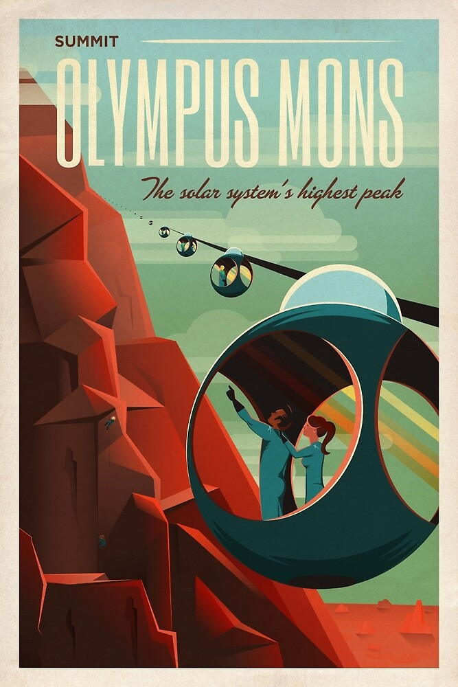 THE VOLCANO OF MARS - Olympus Mons | Space | X | Retro | Vintage | Futurism | Sci-Fi by MikeGSpaceRetro
