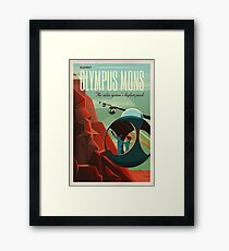 THE VOLCANO OF MARS - Olympus Mons | Space | X | Retro | Vintage | Futurism | Sci-Fi Framed Print