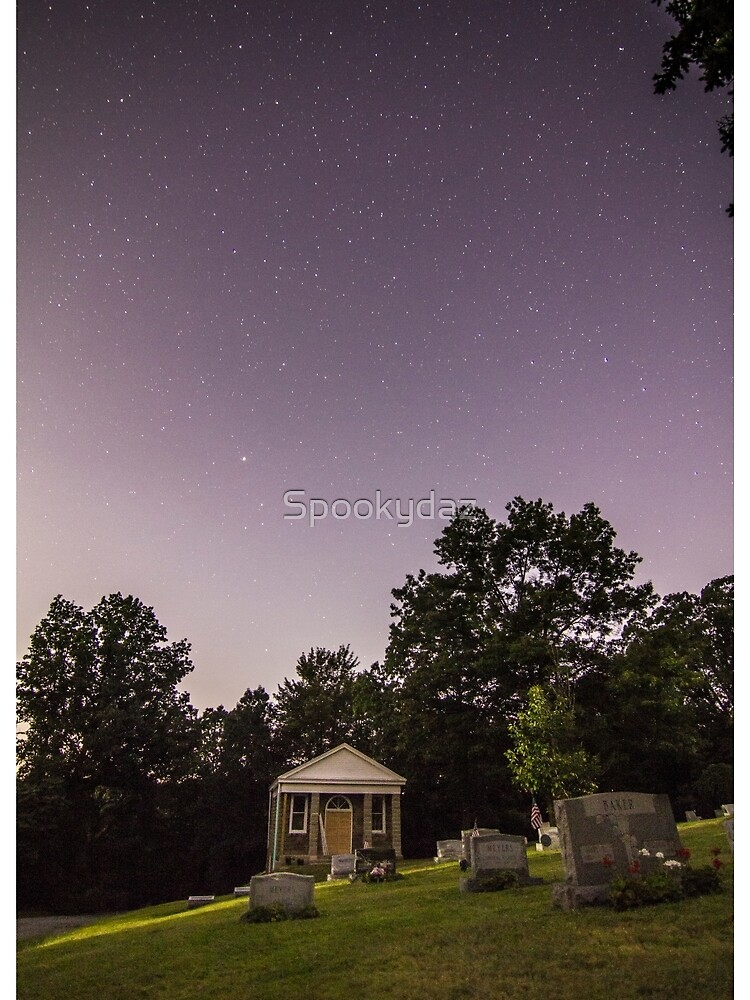 clear starry night sky at evans city cemetery chapel home of night