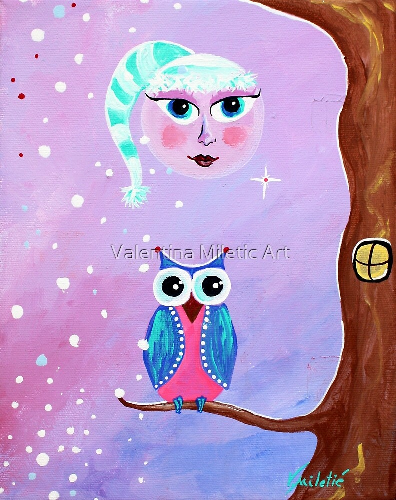 Moon Owl Whimsical Art by Valentina Miletic by Valentina Miletic Art