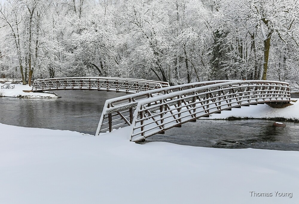 Brainards Bridge In Winter 2014-1 by Thomas Young