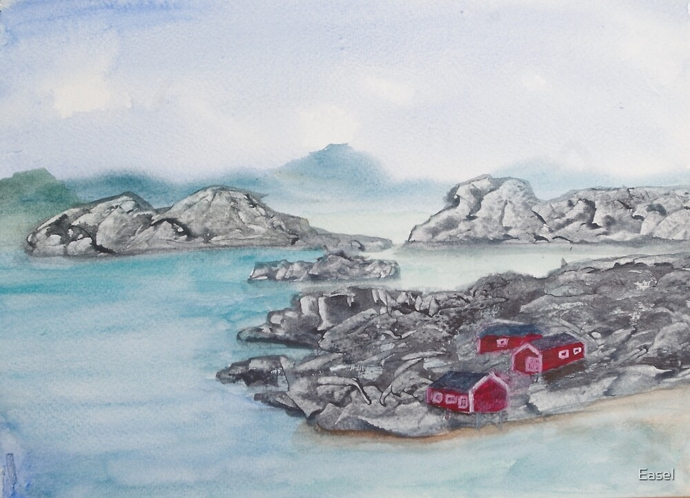 Fishing Huts. by Easel