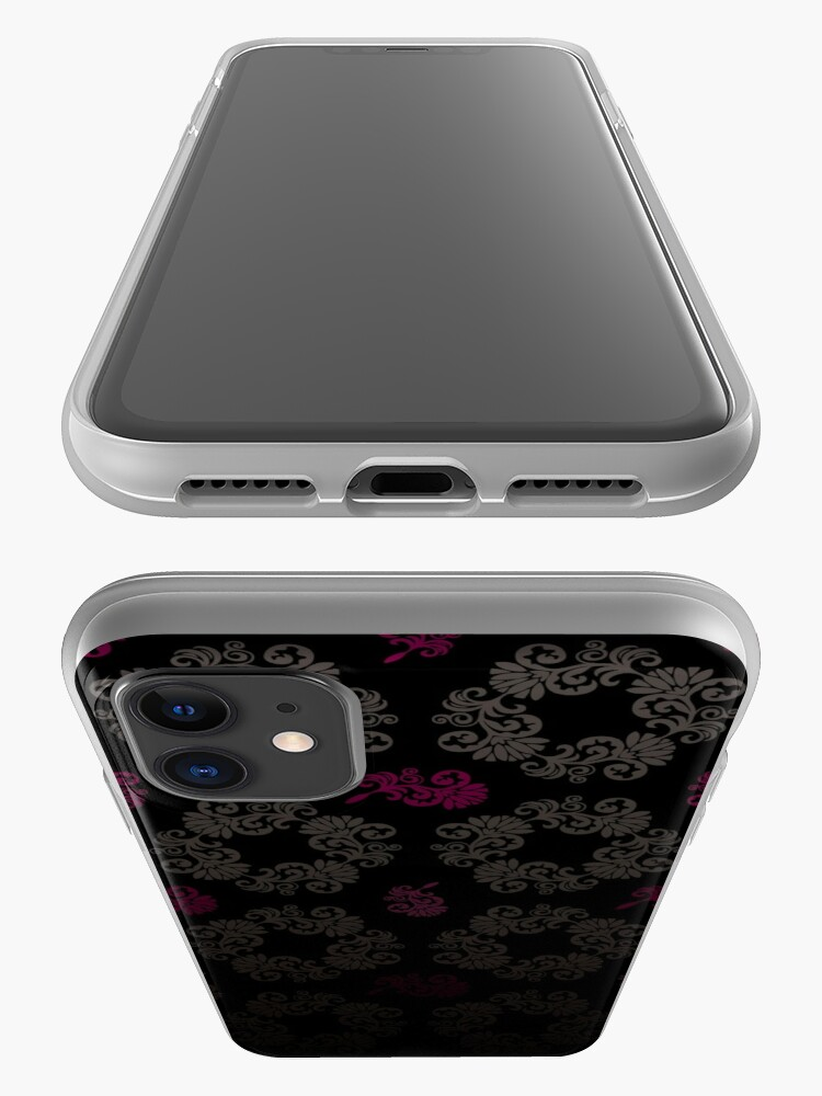 Alternate view of Black floral pattern iPhone Case & Cover