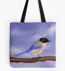 Happy Azure-Winged Magpie on a Blue Sky Tote Bag