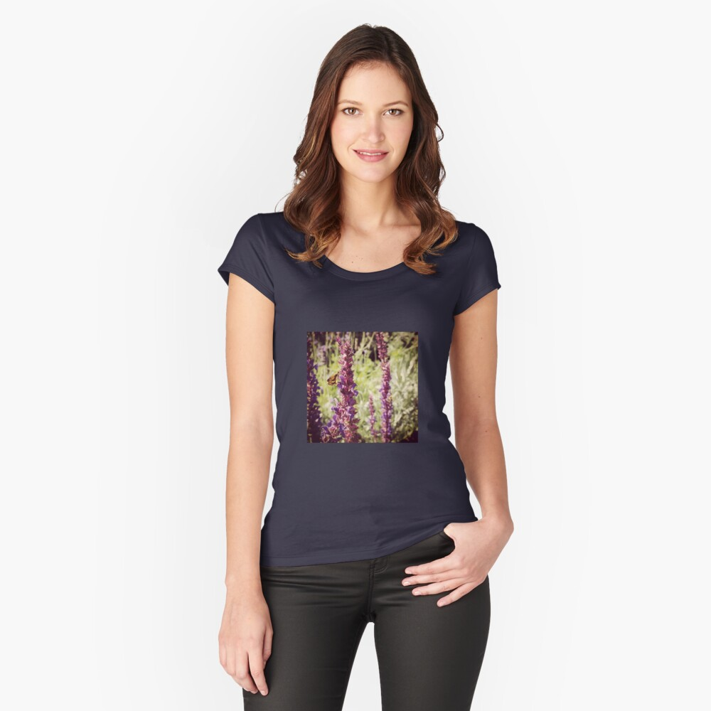 Brown skipper on salvia Women's Fitted Scoop T-Shirt Front