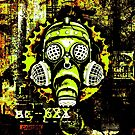 Steampunk / Cyberpunk Gas Mask Posterized Version by Steve Crompton