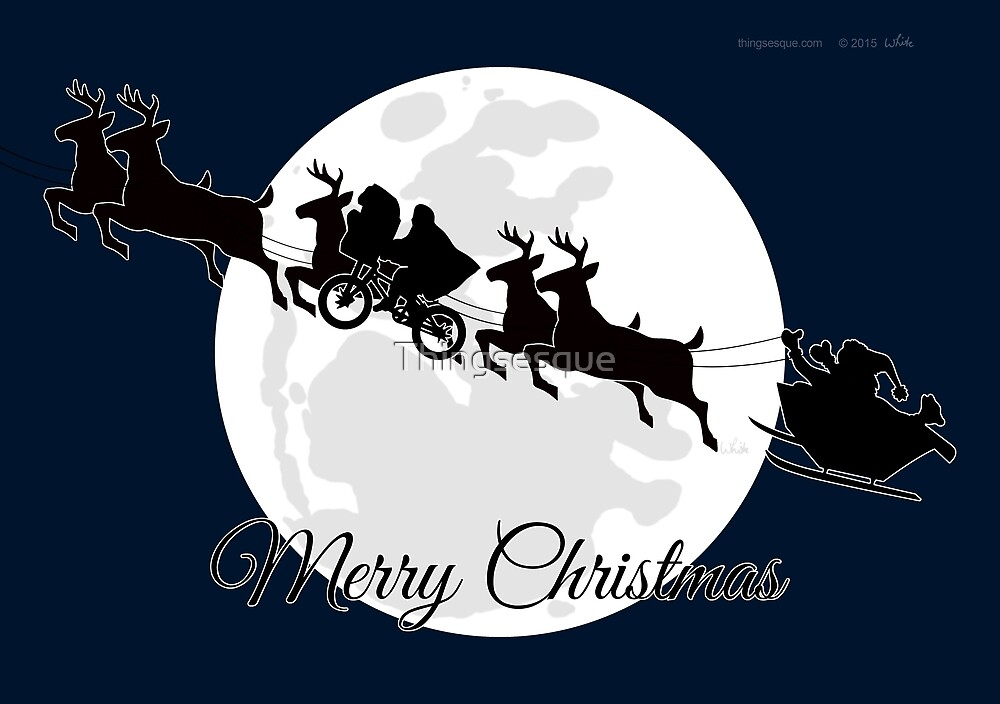 Silhouetted Santa, Reindeer, Et Al. by Thingsesque