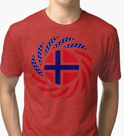 Norwegian American Multinational Patriot Flag Series 1.0 Tri-blend T-Shirt