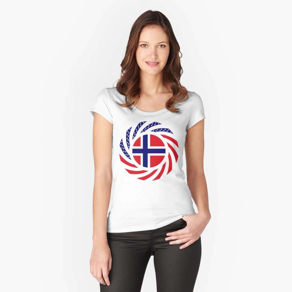 Norwegian American Multinational Patriot Flag Series 1.0 Fitted Scoop T-Shirt